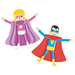 24 Valentine Superhero Bendable Toys