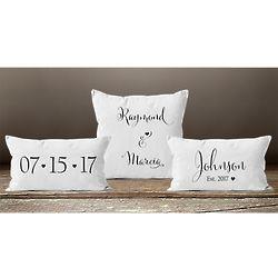 Personalized Wedding Anniversary Date Pillow Set