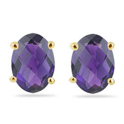Amethyst Stud Earrings in 14K Gold