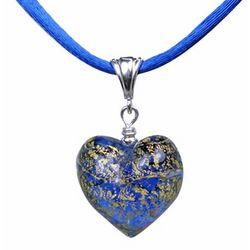 Murano Heart Pendant in Sapphire and Gold