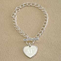 Greek Personalized Rhinestone Toggle Bracelet