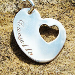 Personalized Slanted Heart Sterling Silver Pendant Necklace