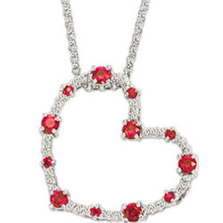 14k White Gold Ruby Diamond Heart Pendant Necklace