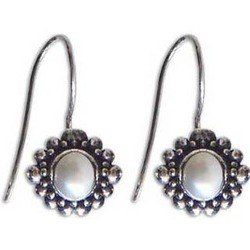 Moon Face Pearl Dangle Earrings
