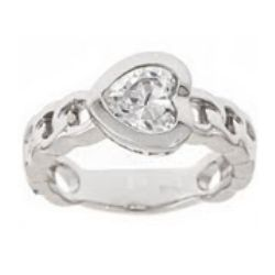 Saved Heart Clear Stone Purity Ring