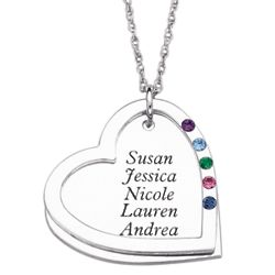 Sterling Silver Mother's Heart Name and Birthstone Necklace