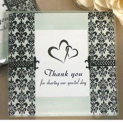 Thank You Damask and Fleur de Lis Photo Coaster