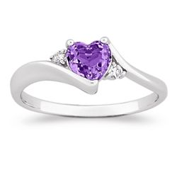Sterling Silver Amethyst Heart Ring with Cubic Zirconia Accents