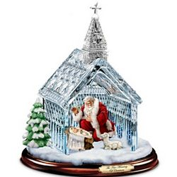 Santa Nativity Crystal Chapel Christmas Sculpture