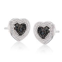Sterling Silver Black Diamond Heart Earrings