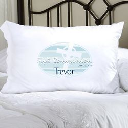 Personalized Blue Celtic Blessings First Communion Pillow Case