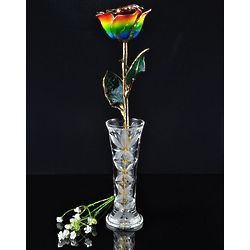 24 Karat Gold Trimmed Rainbow Rose with Crystal Vase