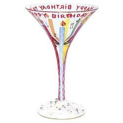Handpainted Happy Birthday Martini Glass