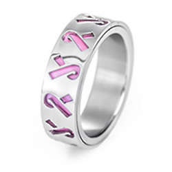 Cut-Out Pink Ribbon Breast Cancer Stainless Steel Ring