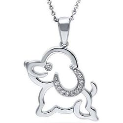 Cubic Zirconia Sterling Silver Puppy Fashion Pendant Necklace