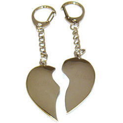 Silver Plated Broken Heart Key Chain