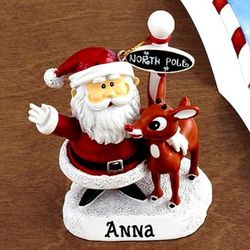Personalized Rudolph and Santa Letter and Ornament