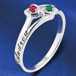 Couples Sterling Silver Birthstone Ring