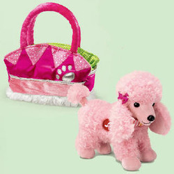 Fancy Schamcy Pink Poodle Pet Purse Set