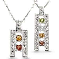 Sterling Birthstone Ladder Necklace and Keepsake Box