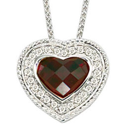 14k Woven White Gold Garnet Diamond Heart Necklace