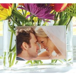 Personalized Glass Wedding Photo Vase