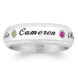 Sterling Silver Family Name and Birthstone Milgrain Band