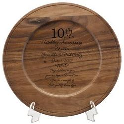 Personalized Wooden Anniversary Plate
