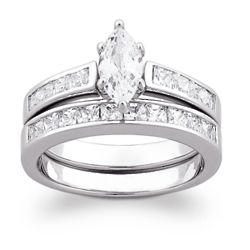 Sterling Silver Marquise Cubic Zirconia Wedding Ring Set