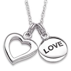 Sterling Silver Open Heart and Love Sentiment Necklace
