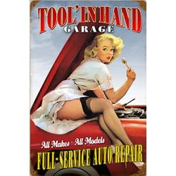 Tool in Hand Pin-Up Girl Metal Sign