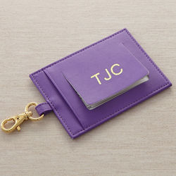 Personalized Purple Leather World Traveler Luggage Tag