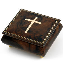 Handcrafted Natural Holy Cross Inlay Musical Jewelry Box