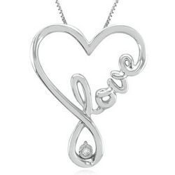 Diamond Heart Love Pendant in Sterling Silver