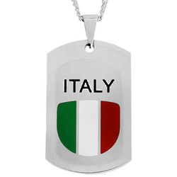 Italian Flag Dog Tag in Stainless Steel