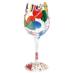 Celebrate Hand Painted Wine Glass