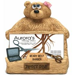 Personalized Bear Business Card Holder for Barber