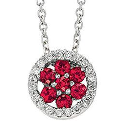 14k White Gold Ruby Vintage Style Diamond Circle Necklace