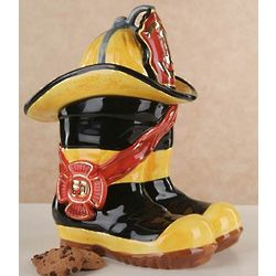 Fireman Boots and Hat Ceramic Cookie Jar