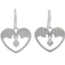 Elephants in Love Sterling Silver Heart Earrings