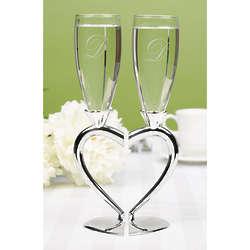Interlocking Heart Champagne Flutes