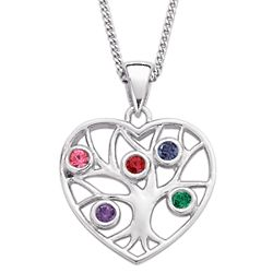 Sterling Silver Family Heart Birthstone Necklace