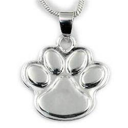 Engravable Silver Plated Paw Pendant Necklace