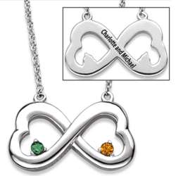 Sterling Silver Couple's Birthstone Eternity Hearts Necklace