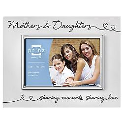 Mom and Daughter Linked Hearts Silver Frame