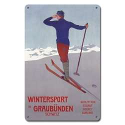 Wintersport in Graubunden Metal Ski Sign