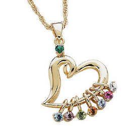 Mother's Heart Birthstone Charm Necklace