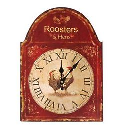 Farm Rooster and Hen Wall Clock