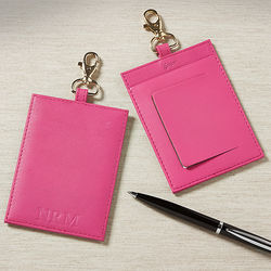 Personalized Pink Leather World Traveler Luggage Tag