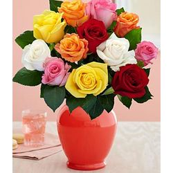 One Dozen Long Stemmed Rainbow Roses with Coral Vase